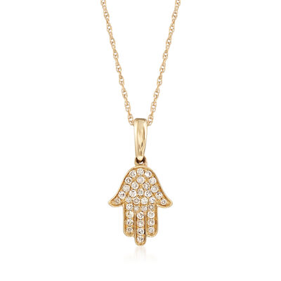 .13 ct. t.w. Diamond Hamsa Hand Pendant Necklace in 14kt Yellow Gold, , default