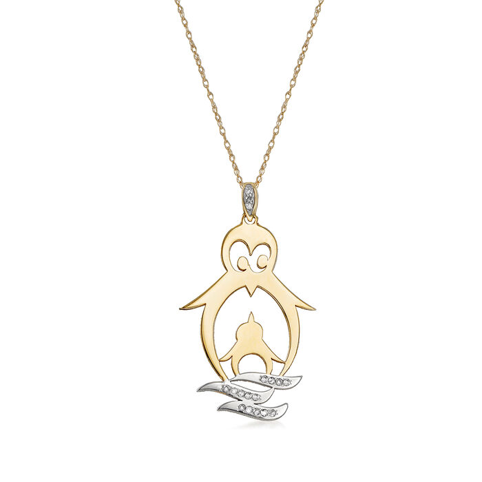 14kt Yellow Gold Big and Little Penguin Pendant Necklace with Diamond Accents