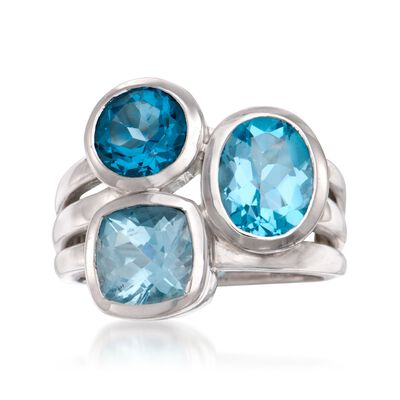 4.00 ct. t.w. Blue Topaz Ring in Sterling Silver, , default