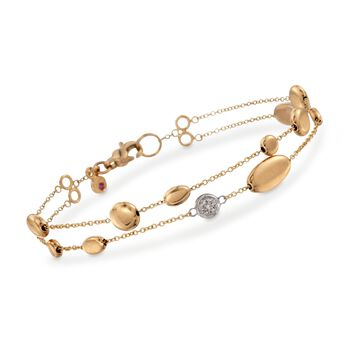 """Roberto Coin 18kt Yellow Gold Two-Row Pebble Station Bracelet With Diamond Accents. 7"""", , default"""