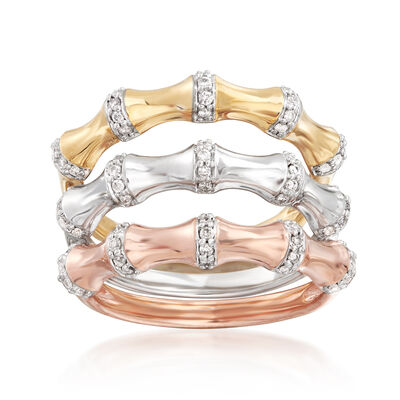 .30 ct. t.w. Diamond Jewelry Set: Three Bamboo Bands in 18kt Tri-Colored Gold Over Sterling, , default