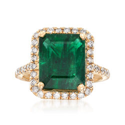 6.50 Carat Emerald and .65 ct. t.w. Diamond Ring in 14kt Yellow Gold, , default