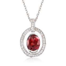 "2.00 Carat Garnet and .40 ct. t.w. White Topaz Pendant Necklace in Sterling Silver. 18"", , default"