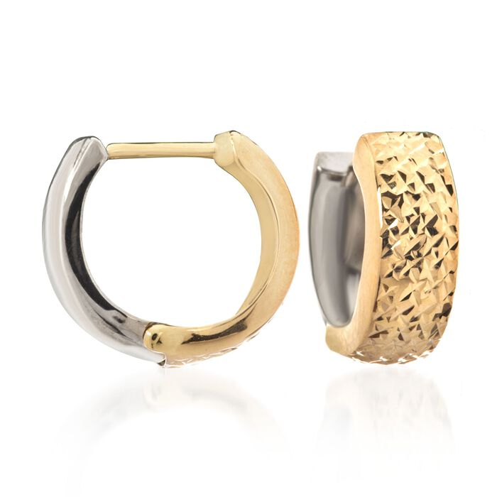 "14kt Two-Tone Gold Reversible Diamond-Cut and Polished Huggie Hoop Earrings. 3/8"", , default"