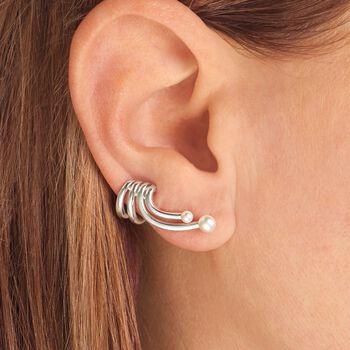 2.5-3.5mm Cultured Pearl Single Cuff Earring in Sterling Silver, , default