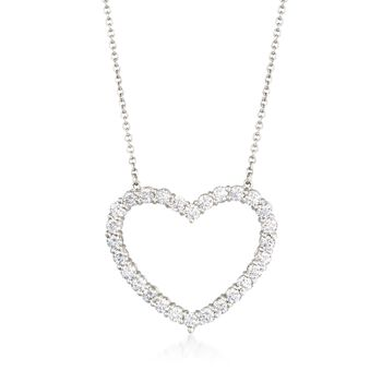 "C. 1990 Vintage Tiffany Jewelry 1.00 ct. t.w. Diamond Open-Space Heart Necklace in Platinum. 16.5"", , default"