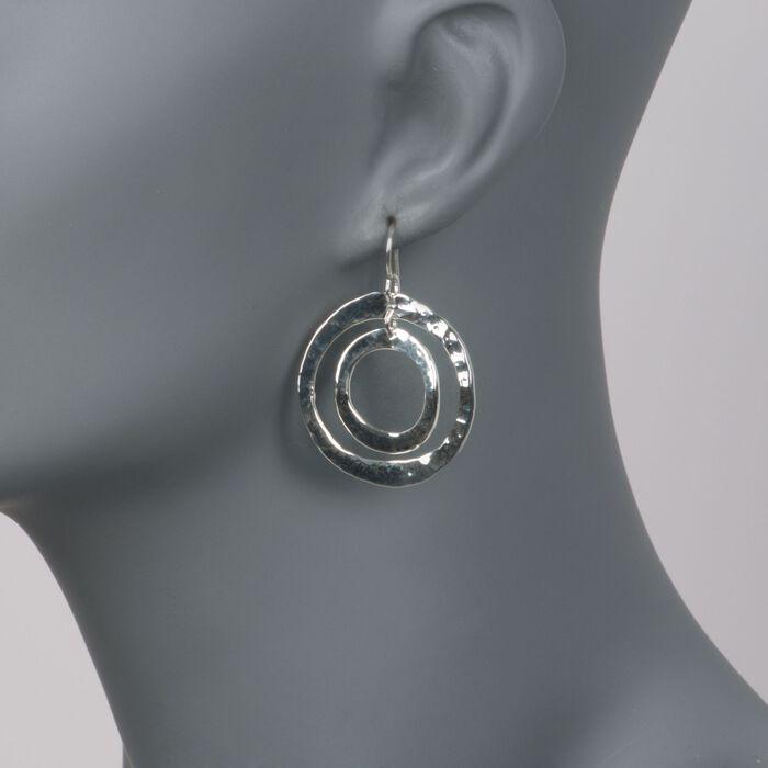 "Zina Sterling Silver ""Sahara"" Double Circle Drop Earrings"