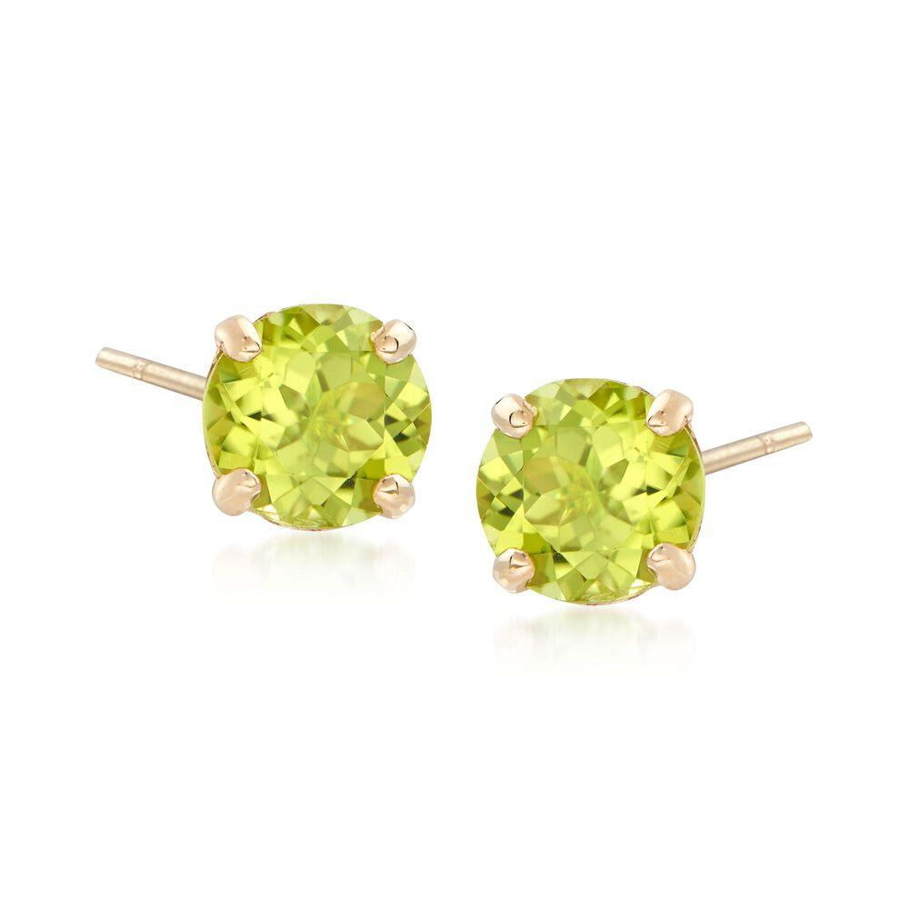 T W Peridot Stud Earrings In 14kt Yellow Gold Default