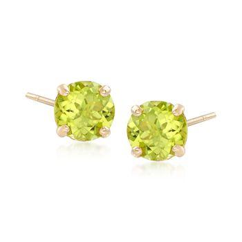 1.80 ct. t.w. Peridot Stud Earrings in 14kt Yellow Gold, , default