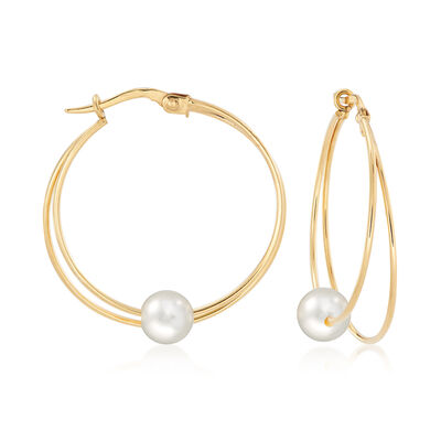 Italian 6mm Cultured Pearl Hoop Earrings in 14kt Yellow Gold, , default