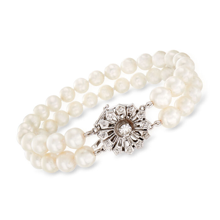 C. 1950 Vintage .60 ct. t.w. Diamond and 6.5x7.5mm Cultured Pearl Flower Bracelet in 14kt White Gold. 7""