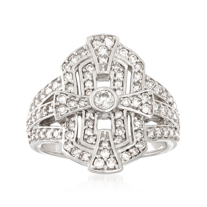 1.00 ct. t.w. Diamond Shield Ring in Sterling Silver, , default