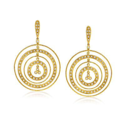 C. 1980 Vintage 1.10 ct. t.w. Diamond Multi-Circle Drop Earrings in 18kt Yellow Gold