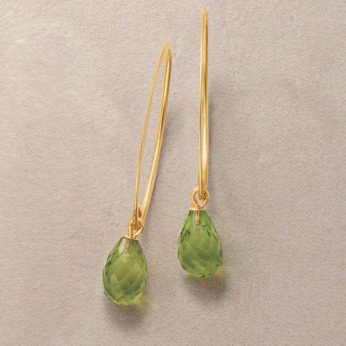 4.80 ct. t.w. Peridot Briolette Drop Earrings in 14kt Yellow Gold