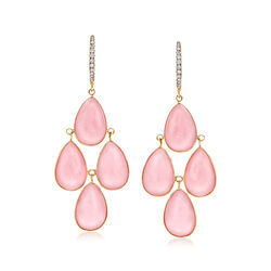 Pink Opal and .13 ct. t.w. Diamond Drop Earrings in 14kt Yellow Gold, , default