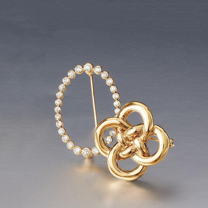 1.00 ct. t.w. Bezel-Set Diamond Pin in 14kt Yellow Gold