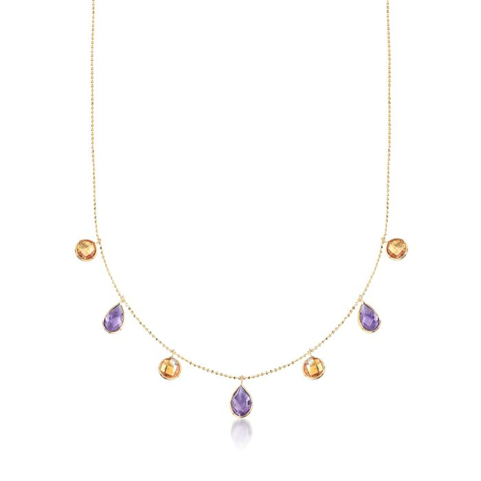 "4.10 ct. t.w. Amethyst and 3.40 ct. t.w. Citrine Station Necklace in 14kt Yellow Gold. 16"", , default"