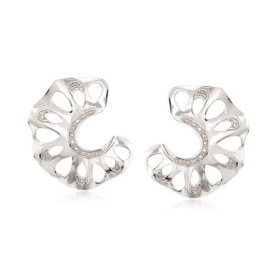 .10 ct. t.w. Diamond C-Shaped Cutout Earrings in Sterling Silver