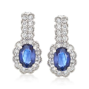 1.20 ct. t.w. Sapphire and .40 ct. t.w. Diamond Drop Earrings in 14kt White Gold, , default