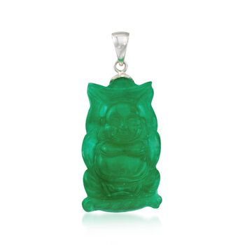 Carved Green Jade Buddha Pendant in Sterling Silver, , default