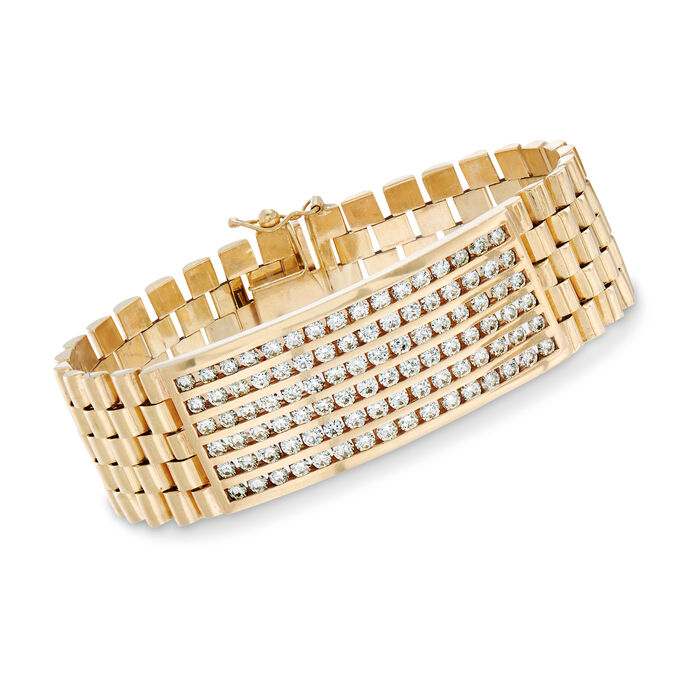 "C. 1990 Vintage 5.50 ct. t.w. Diamond Link Bracelet in 14kt Yellow Gold. 7.5"", , default"