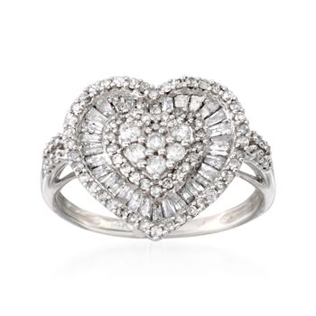 1.02 ct. t.w. Baguette and Round Diamond Heart Ring in 14kt White Gold , , default