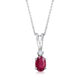 """1.00 Carat Oval Ruby Pendant Necklace With Diamond Accent in 14kt White Gold. 16"""", , default"""