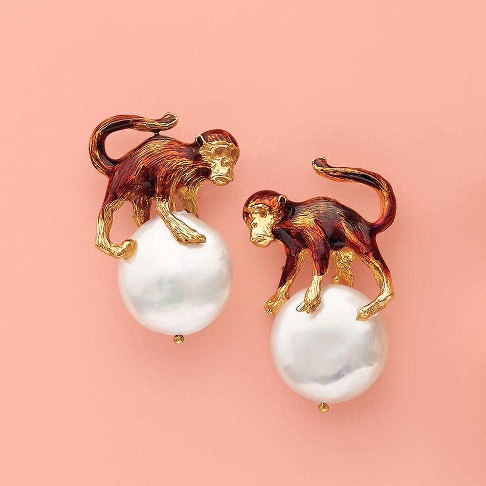 0e03ad9b36 ... default Italian 16mm Cultured Pearl Monkey Earrings in 18kt Gold Over  Sterling, ...