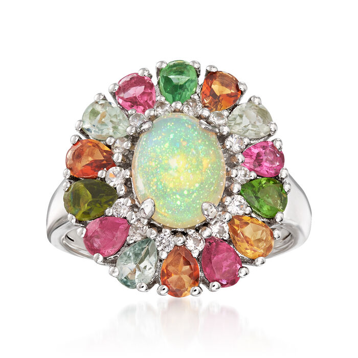 Opal, Multicolored Tourmaline and White Zircon Ring in Sterling Silver, , default