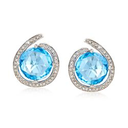 7.75 ct. t.w. Blue Topaz and .27 ct. t.w. Diamond Swirl Earrings in 14kt White Gold , , default