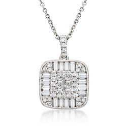 "Gregg Ruth 1.26 ct. t.w. Diamond Pendant Necklace in 18kt White Gold. 18"", , default"