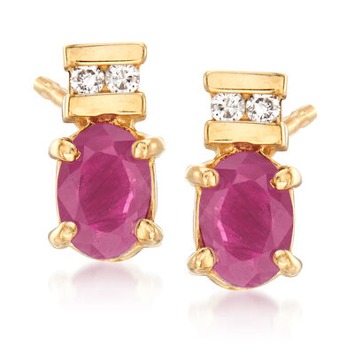 C. 1990 Vintage .50 ct. t.w. Ruby Earrings with Diamond Accents in 14kt Yellow Gold, , default