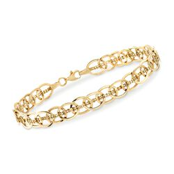 14kt Yellow Gold Oval-Link and Bead-Chain Bracelet, , default