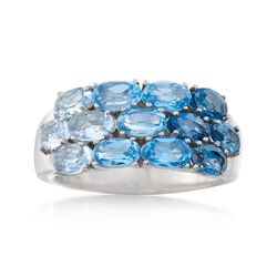 2.60 ct. t.w. Tonal Blue Topaz Three-Row Ring in Sterling Silver, , default