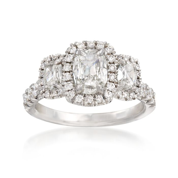 Henri Daussi 1.78 ct. t.w. Three-Stone Diamond Engagement Ring in 18kt White Gold