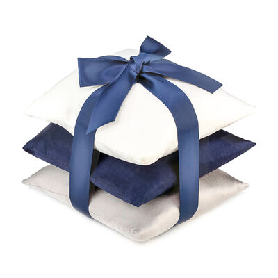 Set of 3 Navy Silk Sachet Pillows, , default