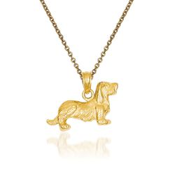 "14kt Yellow Gold Dachshund Pendant Necklace. 18"", , default"