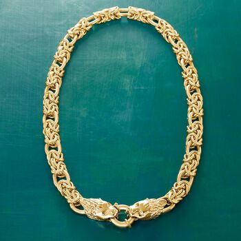 Italian 24kt Gold Over Sterling Double Lion Head Necklace With Byzantine and Oval Links, , default