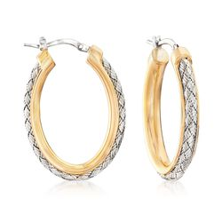 "Charles Garnier ""Norma"" Two-Tone Sterling Silver Oval Hoop Earrings. 1 1/8"", , default"