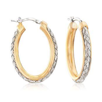 """Charles Garnier """"Norma"""" Two-Tone Sterling Silver Oval Hoop Earrings. 1 1/8"""", , default"""