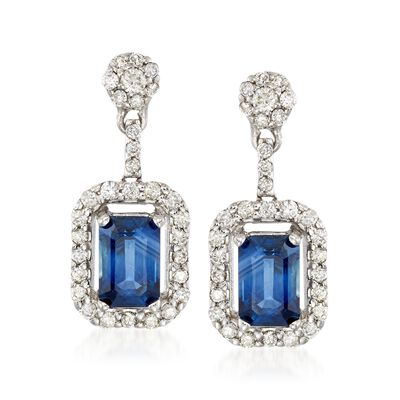 1.40 ct. t.w. Sapphire and .49 ct. t.w. Diamond Drop Earrings in 14kt White Gold, , default