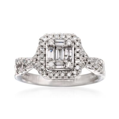 .60 ct. t.w. Baguette and Round Diamond Ring in 14kt White Gold, , default