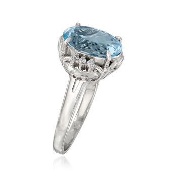 C. 1990 Vintage 1.45 Carat Aquamarine Ring with Diamond Accents in Platinum. Size 7, , default