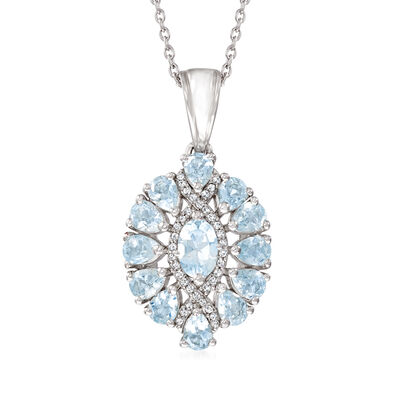 1.60 ct. t.w. Aquamarine Pendant Necklace with White Topaz Accents in Sterling Silver
