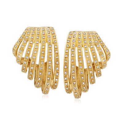 C. 1980 Vintage .90 ct. t.w. Diamond Fan Earrings in 18kt Yellow Gold