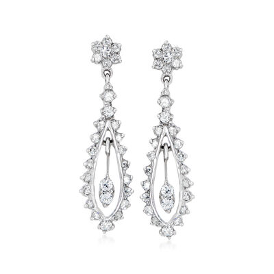 C. 1980 Vintage 1.36 ct. t.w. Diamond Drop Earrings in 14kt White Gold