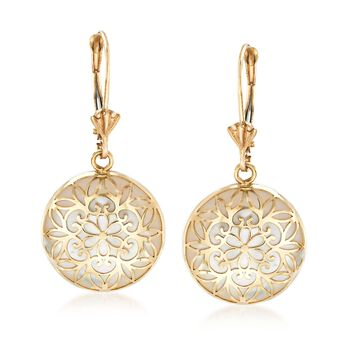 Mother-Of-Pearl Overlay Earrings in 14kt Yellow Gold, , default