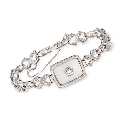 C. 1950 Vintage Rock Crystal and .85 ct. t.w. Diamond Bracelet in Platinum
