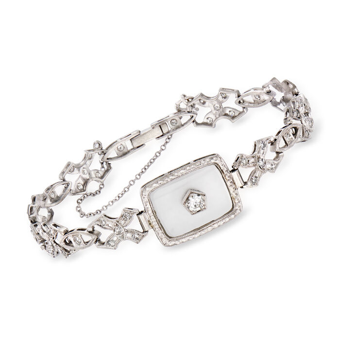 "C. 1950 Vintage Rock Crystal and .85 ct. t.w. Diamond Bracelet in Platinum. 6.5"""