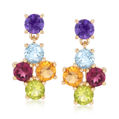 5.00 ct. t.w. Multi-Gemstone Drop Earrings in 14kt Yellow Gold, , default